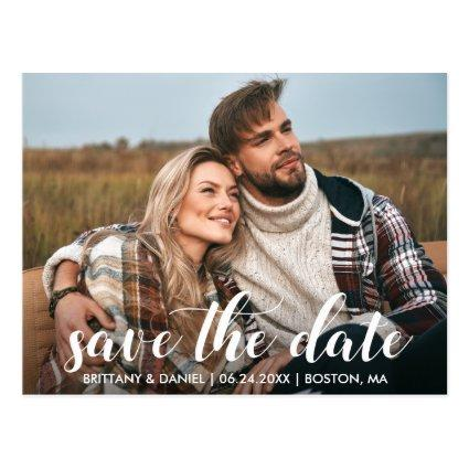 Save The Date Engagement Photo Modern Script Cards