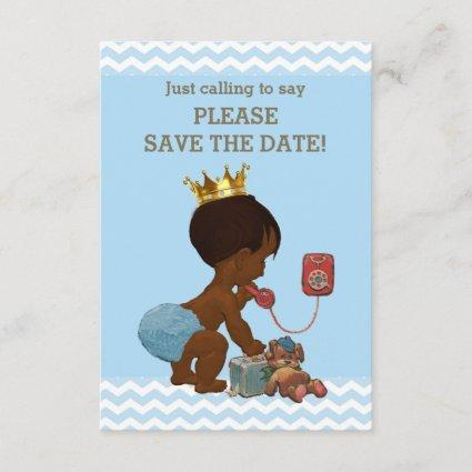 Save The Date Ethnic Prince on Phone Gray Blue