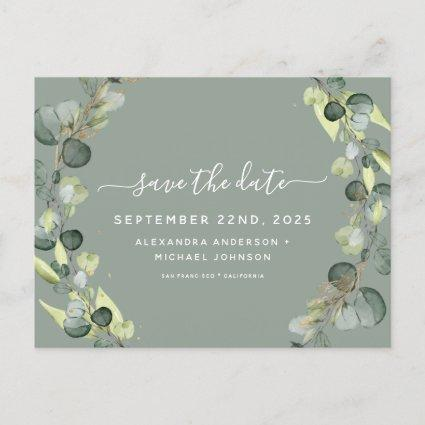 Save the Date Eucalyptus Greenery Succulent Announcement