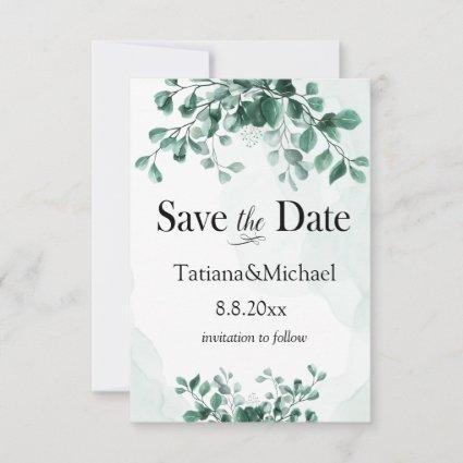 save the date, Eucalyptus watercolor,custom Save The Date