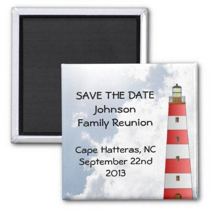 Save the Date Family Reunion Beach Lighthouse Fun Magnet