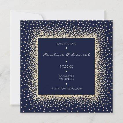Save The Date Faux Gold Blue Navy Glitter Monogram