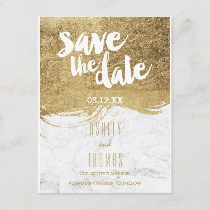 Save the Date faux gold foil brushstroke marble Announcement