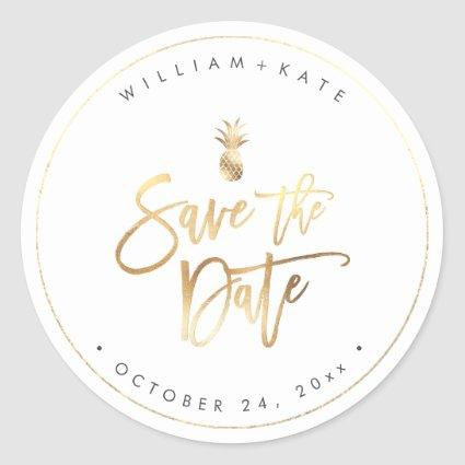 Save the Date, Faux Gold Pineapple Classic Round Sticker