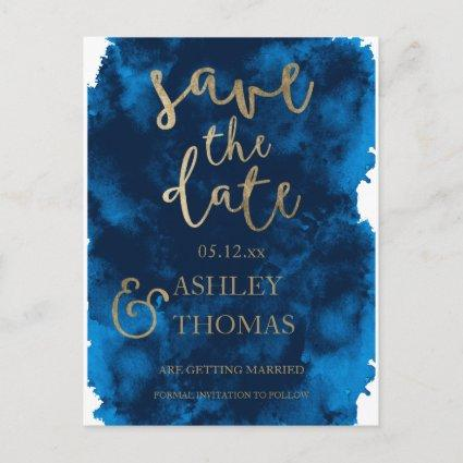 Save the Date faux gold typography navy watercolor Announcement
