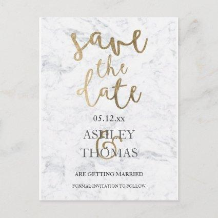 Save the Date faux gold typography white marble Announcement