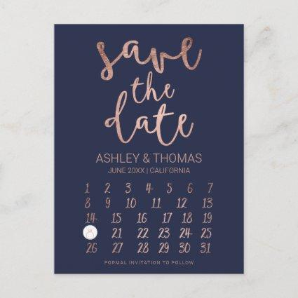Save the Date faux Rose gold calendar navy blue Announcement