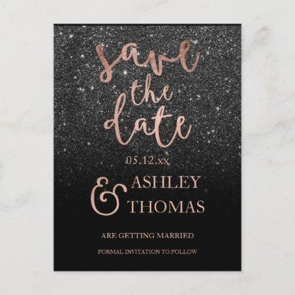 Save the Date faux Rose gold script black glitter Announcement