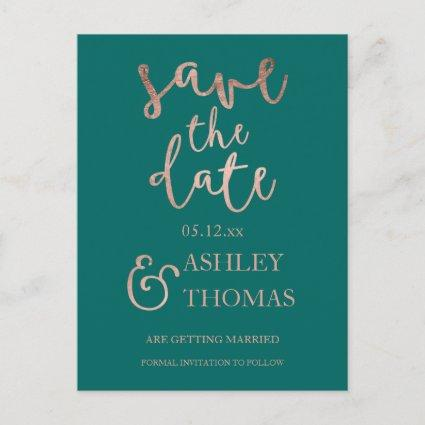 Save the Date faux Rose gold script emerald green Announcement
