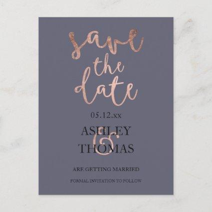 Save the Date faux Rose gold script purple grey Announcements Cards