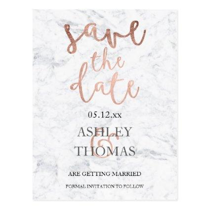 faux Rose gold script white marble Cards
