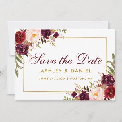 Save The Date Floral Burgundy Gold BB