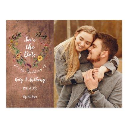Save the Date Floral Heart Rustic Wood Photo