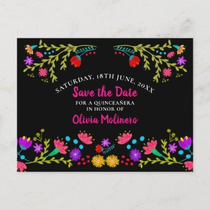 Save the Date  Floral Mexican Fiesta Black Announcement