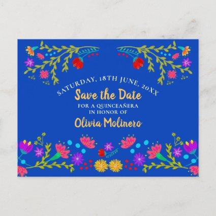 Save the Date  Floral Mexican Fiesta Royal Blue Announcement