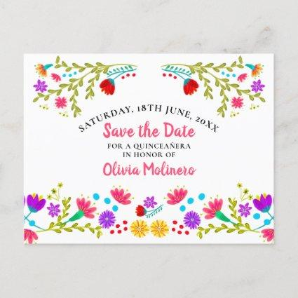 Save the Date  Floral Mexican Fiesta White Announcement