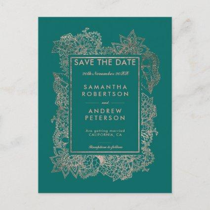 Save the Date floral rose gold emerald green Announcement