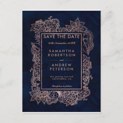 Save the Date floral rose gold navy watercolor Announcement
