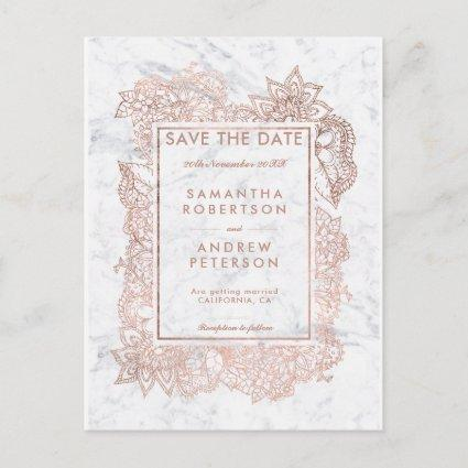 Save the Date floral rose gold white marble Announcement