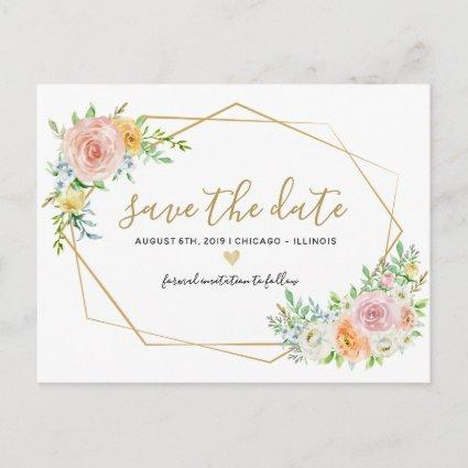 Save the date floral watercolor pink Cards