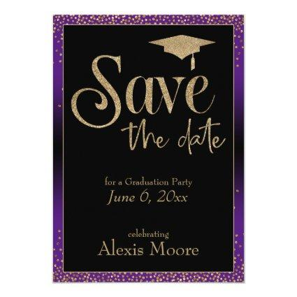 Save the Date for a Graduation Party Gold & Purple Invitation
