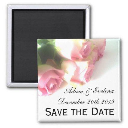 Save the date fridge magnets | pink rose flowers