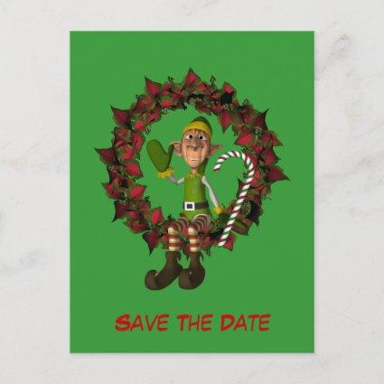 Save The Date Funny Elf On Wreath Holiday Announcement