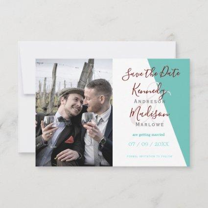 Save the Date Geometric Teal  Minimalist Wedding