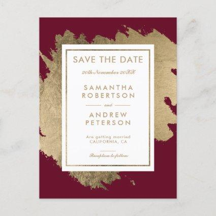 Save the Date gold brushstrokes red burgundy Announcement