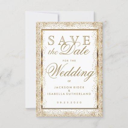 Save the Date Gold Confetti and White