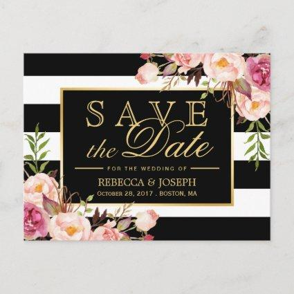 Save the Date - Gold Floral Black & White Stripes Announcement