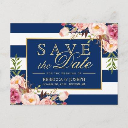 Save the Date - Gold Floral Navy Blue Stripes Announcement
