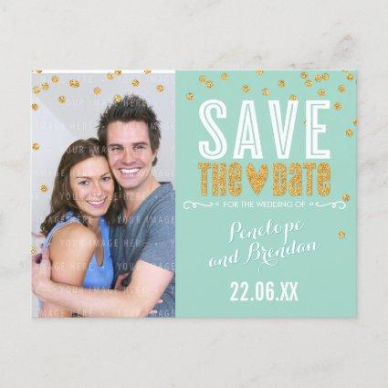 gold glitter confetti trendy mint Announcements Cards