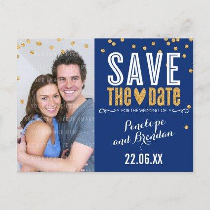 SAVE THE DATE gold glitter confetti trendy navy Announcements Cards