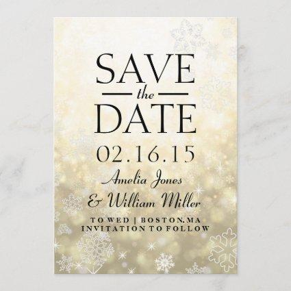 Save The Date Gold Sparkle Snowflake