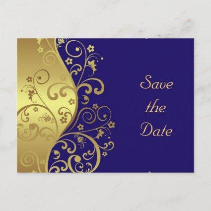 Save the Date--Gold Swirls & Dark Blue Announcement