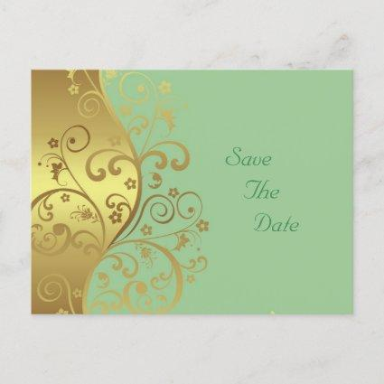 Save the Date--Gold Swirls & Seafoam Announcements Cards
