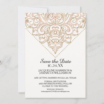 Save the Date Golden Damask Pattern Gold Lace
