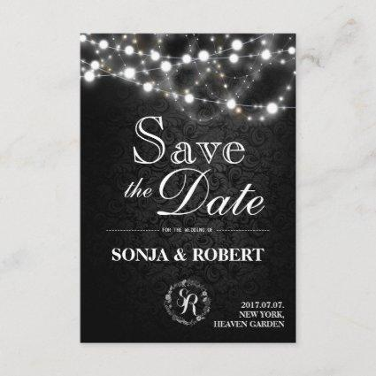 Save the Date - Gothic Black with White Lights