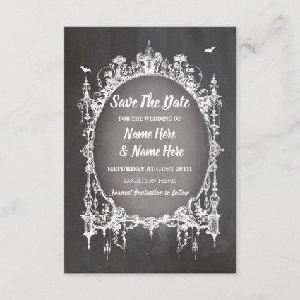 Save The Date Gothic Frame Halloween Rustic Card