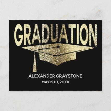 Save The Date Graduation Black & Faux Gold Modern Announcements Cards