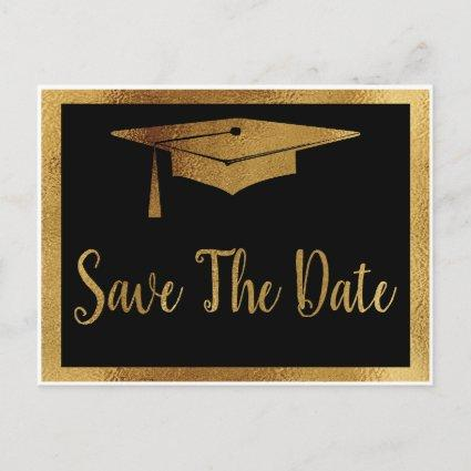 Save The Date Graduation - Black & Faux Gold Style Announcements Cards