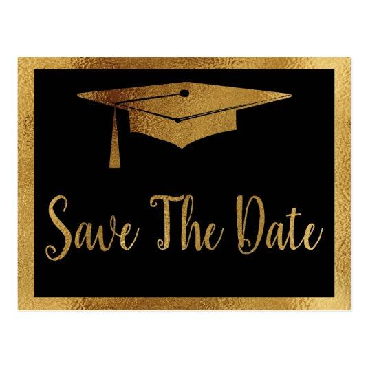 Save The Date Graduation - Black & Faux Gold Style
