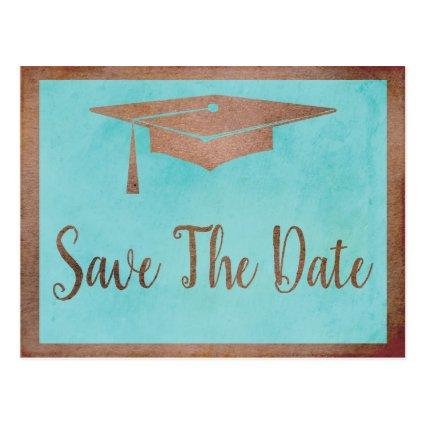Save The Date Graduation - Chic Rose Gold Faux Cards