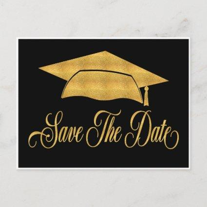 Save The Date Graduation - Faux Gold Grad Cap Announcement