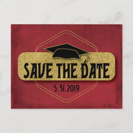 Save The Date Graduation Modern Red Gold