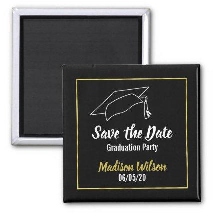 Save the Date Graduation Party | Faux Gold Border Magnets