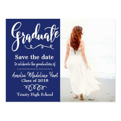 Save The Date Graduation Photo Navy Blue Cards