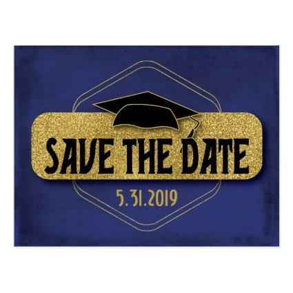 Save The Date Graduation Red Gold Elegant