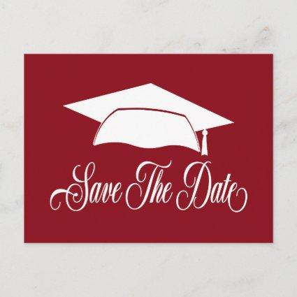 Save The Date Graduation -Simple Red White School Announcement